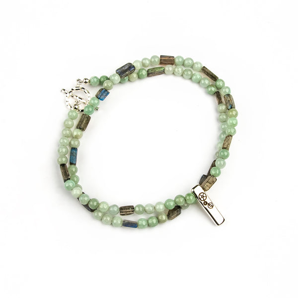 Jade & Labradorite Double-Wrap Baby Bar Bracelet - Timelapse Co.
