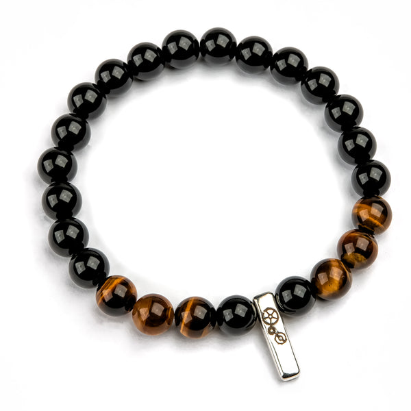 Black Agate & Tiger's Eye Baby Bar Stretch Bracelet - Timelapse Co.
