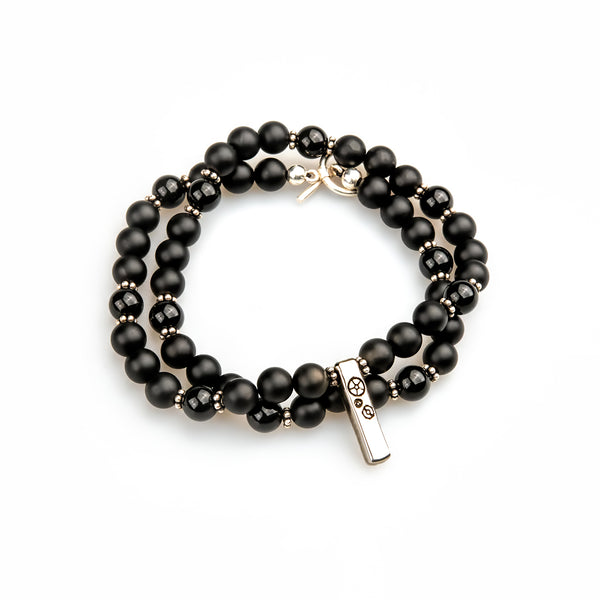 Black Agate & Silver Double-Wrap Baby Bar Bracelet - Timelapse Co.
