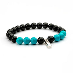 Black Agate & Turquoise Baby Bar Stretch Bracelet - Timelapse Co.