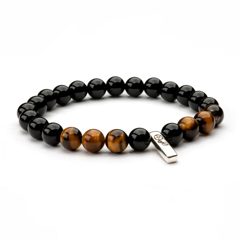 Black Agate & Tiger's Eye Baby Bar Bracelet - Timelapse Co.