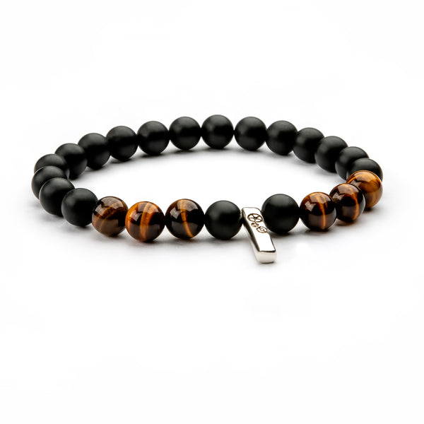 Matte Black Agate & Tiger's Eye Baby Bar Stretch Bracelet - Timelapse Co.