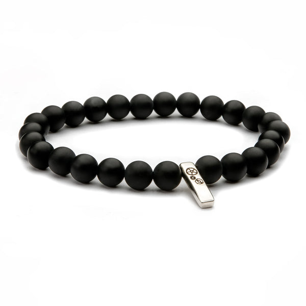 Black Agate (Matte) Baby Bar Stretch Bracelet - Timelapse Co.