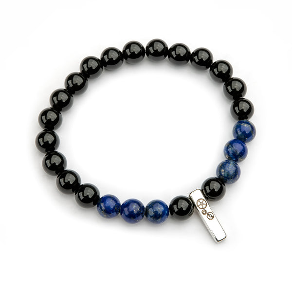 Black Agate & Lapis Lazuli Baby Bar Stretch Bracelet - Timelapse Co.