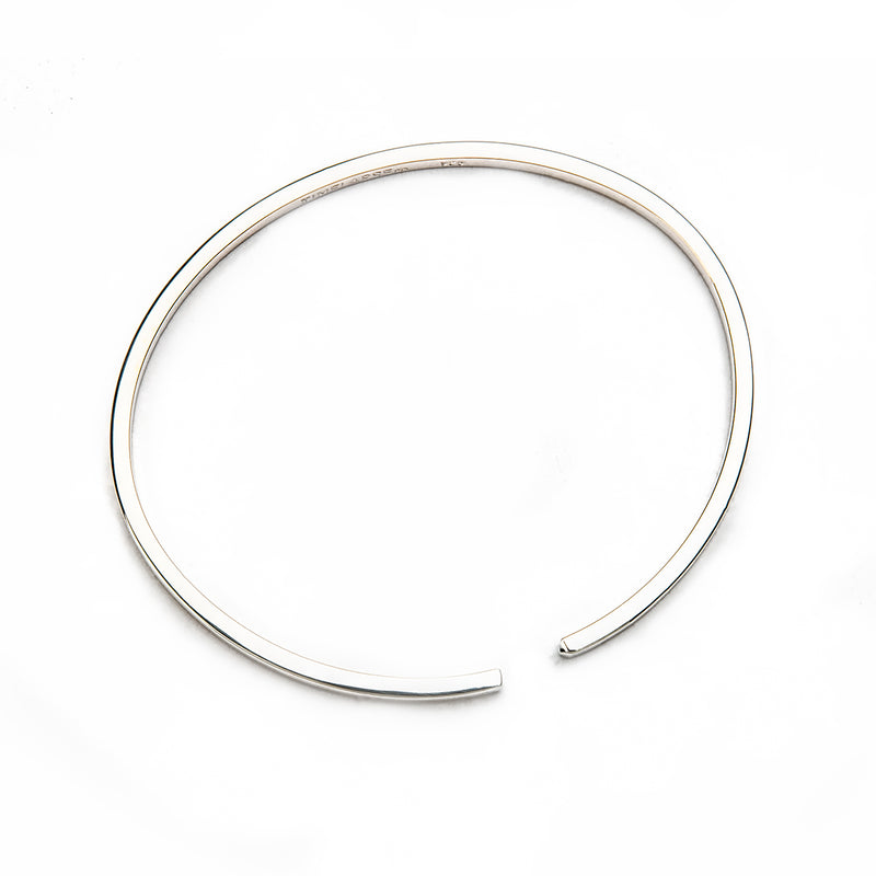 The Circle Bangle - Polished Silver - Thin - Timelapse Co.