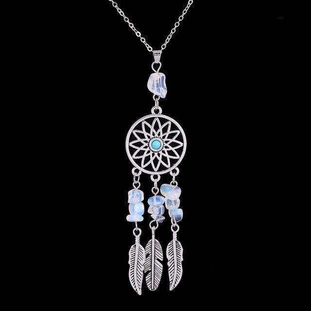 Dreamcatcher natural stone pendant necklace mandala dreams aloadofball Image collections