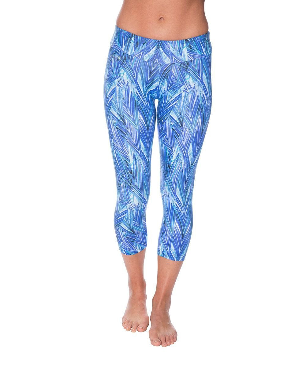 Side view product image for Brasilfit Jodhpur calf length activewear leggings.  Jodhpur leggings are part of our premium printed activewear collection that is focused on performance, high compression activewear with colourful prints.