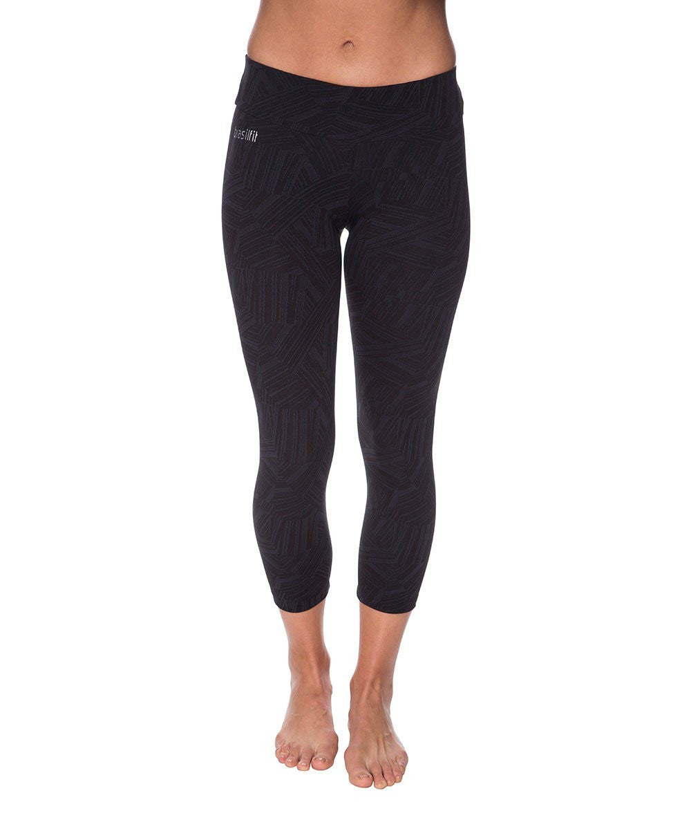 Side view product image for Brasilfit Faith Calf Length activewear leggings.  Faith leggings are part of our textured activewear legging collection that is focused on performance, high compression activewear.