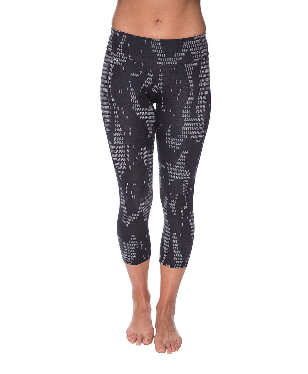 Side view product image for Brasilfit Bangkok Calf Length activewear leggings.  Bangkok leggings are part of our textured activewear legging collection that is focused on performance, high compression activewear.