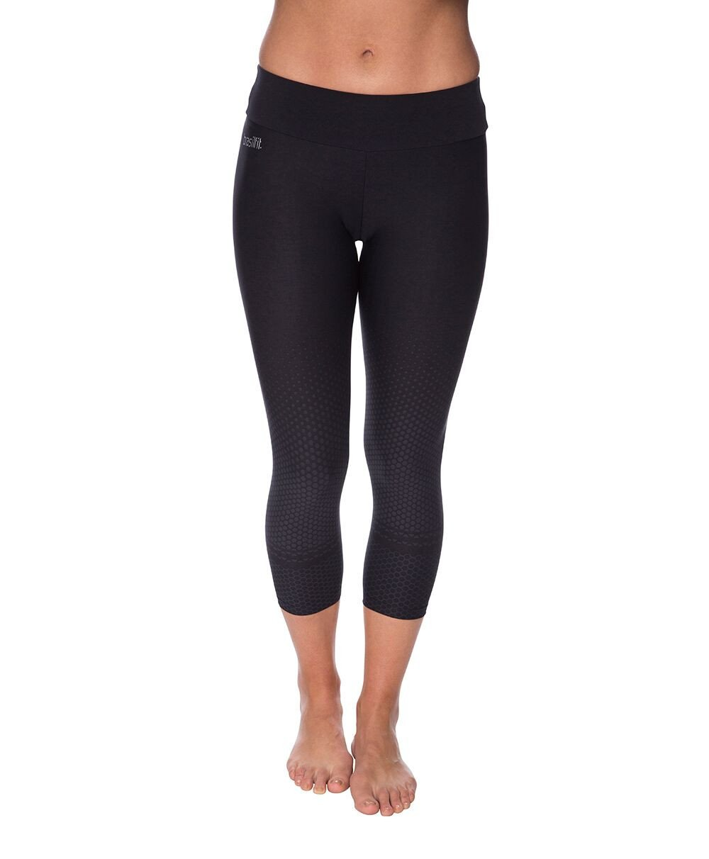 Side view product image for Brasilfit Quebec Calf Length activewear leggings.  Quebec leggings are part of our textured activewear legging collection that is focused on performance, high compression activewear.