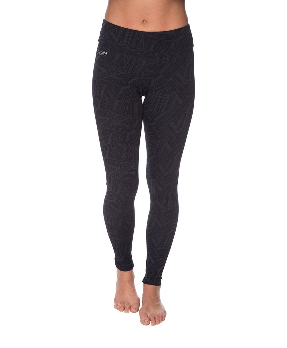 Side view product image for Brasilfit Faith Full Length activewear leggings.  Faith leggings are part of our textured activewear legging collection that is focused on performance, high compression activewear.