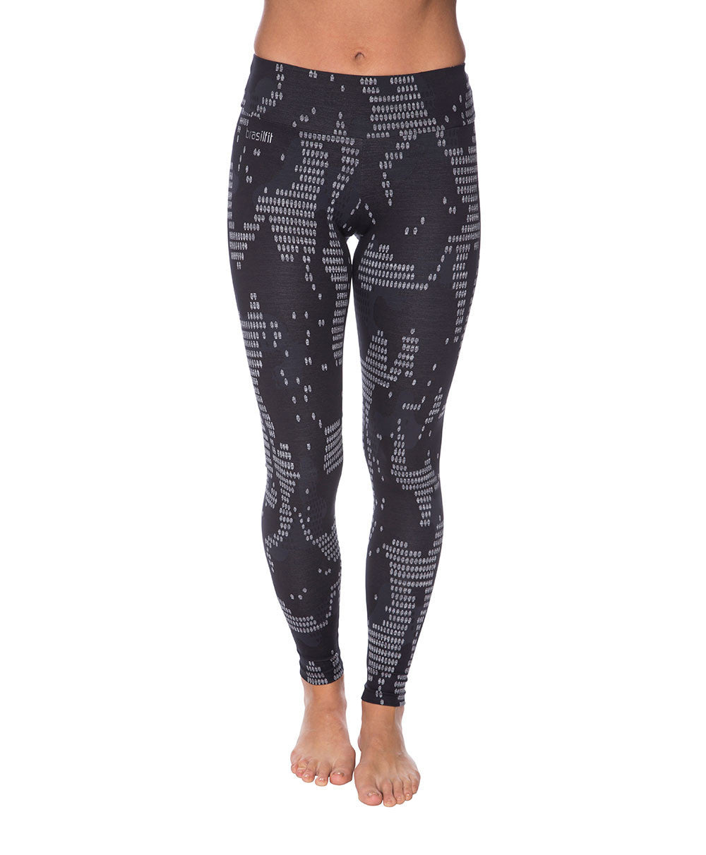 Side view product image for Brasilfit Bangkok Full Length activewear leggings.  Bangkok leggings are part of our textured activewear legging collection that is focused on performance, high compression activewear.