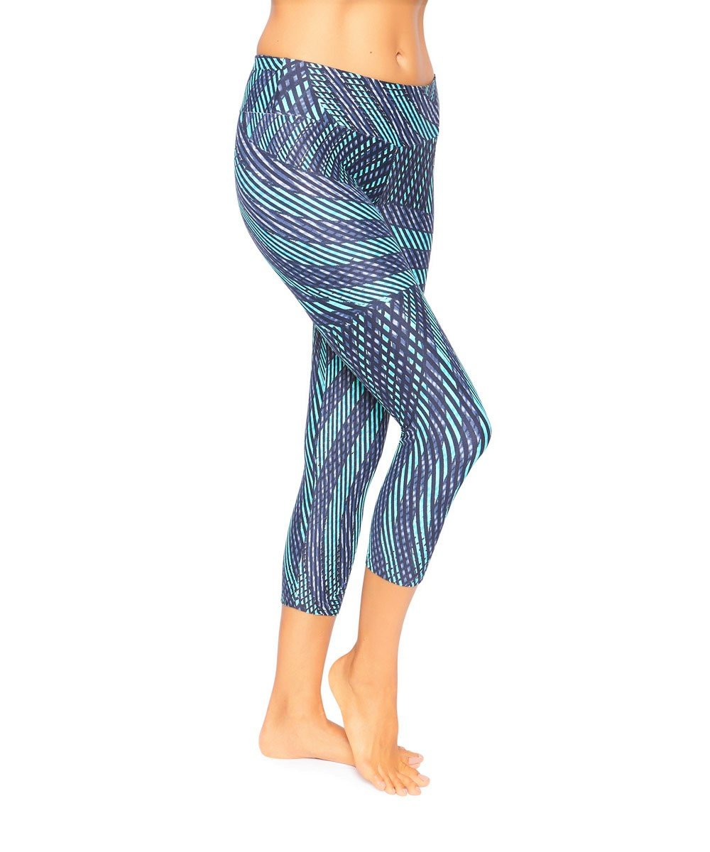 Side view product image for Brasilfit Rio calf length activewear leggings.  Rio leggings are part of our premium printed activewear collection that is focused on performance, high compression activewear with colourful prints.