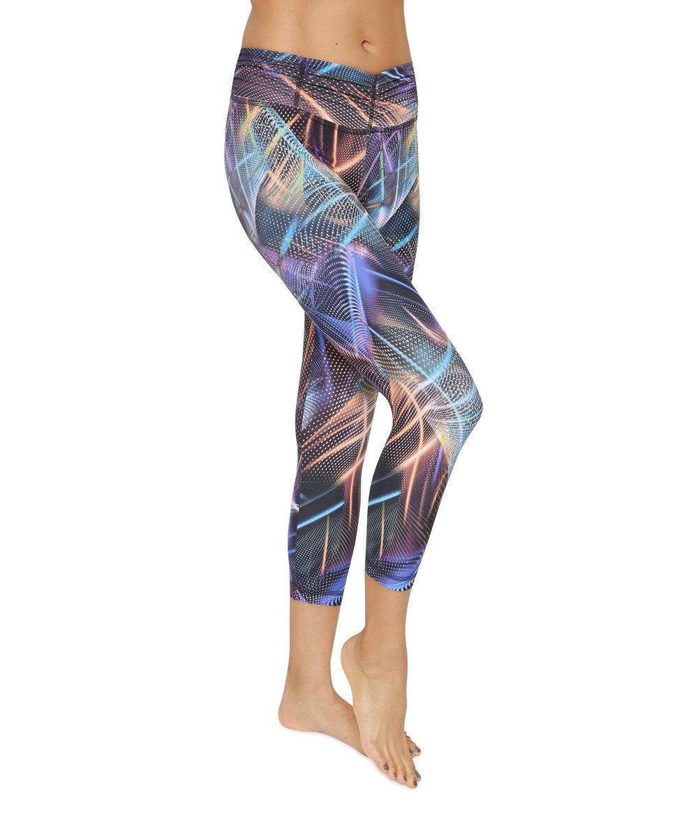 Product image for Brasilfit Disco Nights calf length activewear leggings.  Disco Nights leggings are part of our Crazy prints activewear collection that is focused on performance activewear with colourful prints