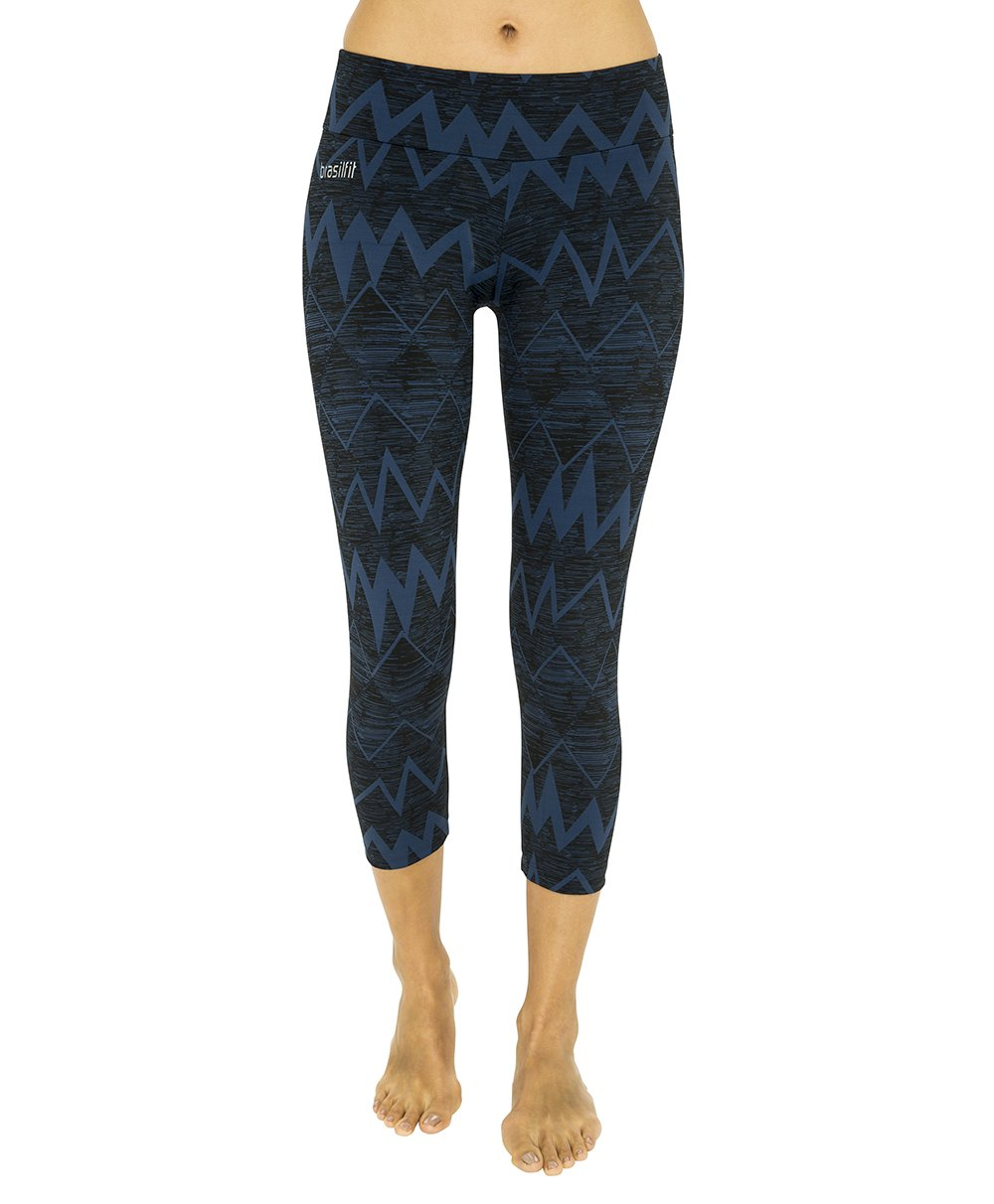 Side view product image for Brasilfit Jupiter Calf Length activewear leggings.  Jupiter leggings are part of our textured activewear legging collection that is focused on performance, high compression activewear.
