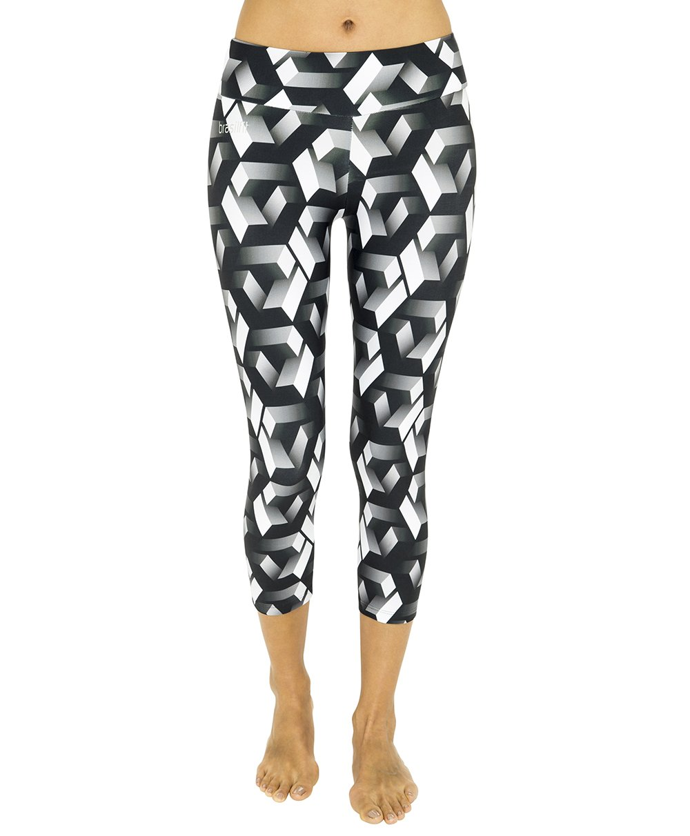 Side view product image for Brasilfit Labyrinth calf length activewear leggings.  Labyrinth leggings are part of our premium printed activewear collection that is focused on performance, high compression activewear with colourful prints.