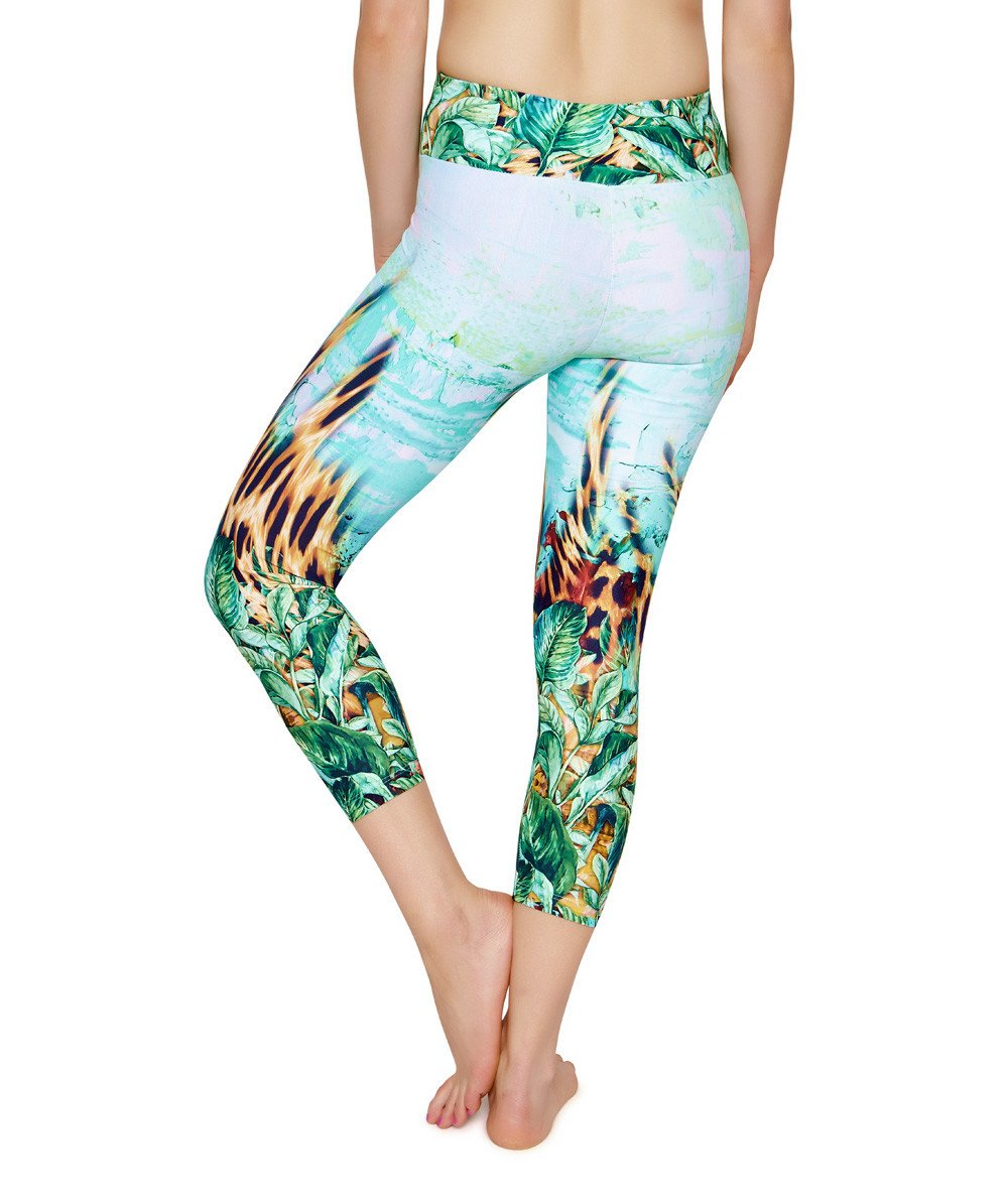 Side view product image for Brasilfit Paradise calf length activewear leggings.  Paradise leggings are part of our premium printed activewear collection that is focused on performance, high compression activewear with colourful prints.