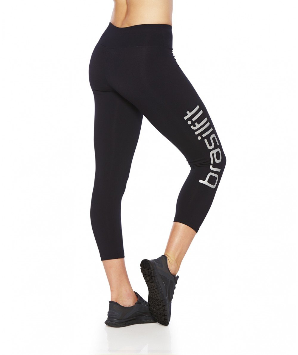 Side view product image for Brasilfit Calore calf length activewear leggings with Silver Brasilfit logo on leg.  Calore leggings are part of our essentials and basics activewear collection that is focused on high compression, performance activewear.