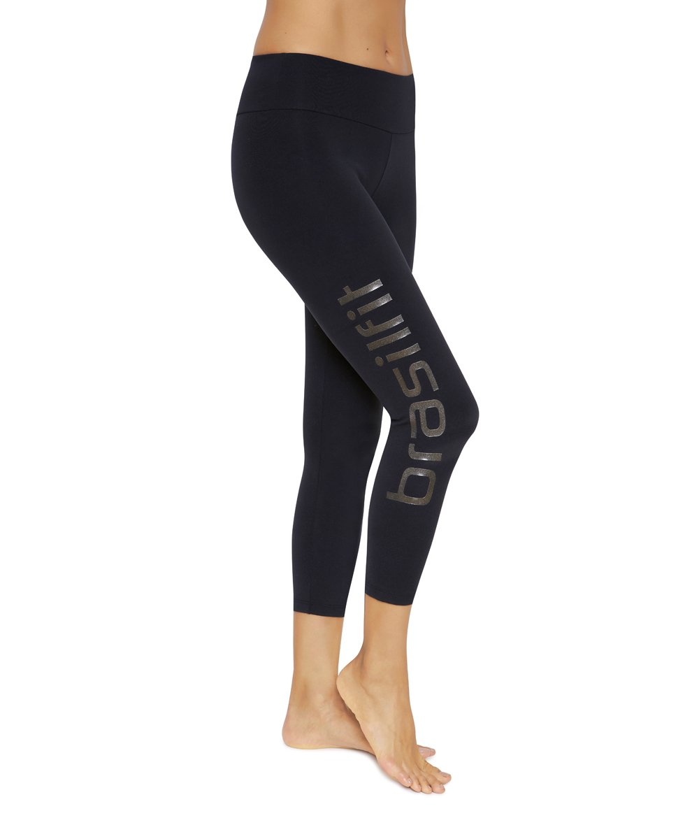 Product image for Brasilfit Calore calf length activewear leggings with Black Brasilfit logo on leg.  Calore leggings are part of our essentials and basics activewear collection that is focused on performance, high compression activewear.