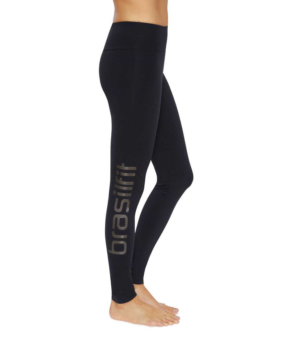 Front view product image for Brasilfit Calore full length activewear leggings with Black Brasilfit logo on leg.  Calore leggings are part of our essentials and basics activewear collection that is focused on performance, high compression activewear.
