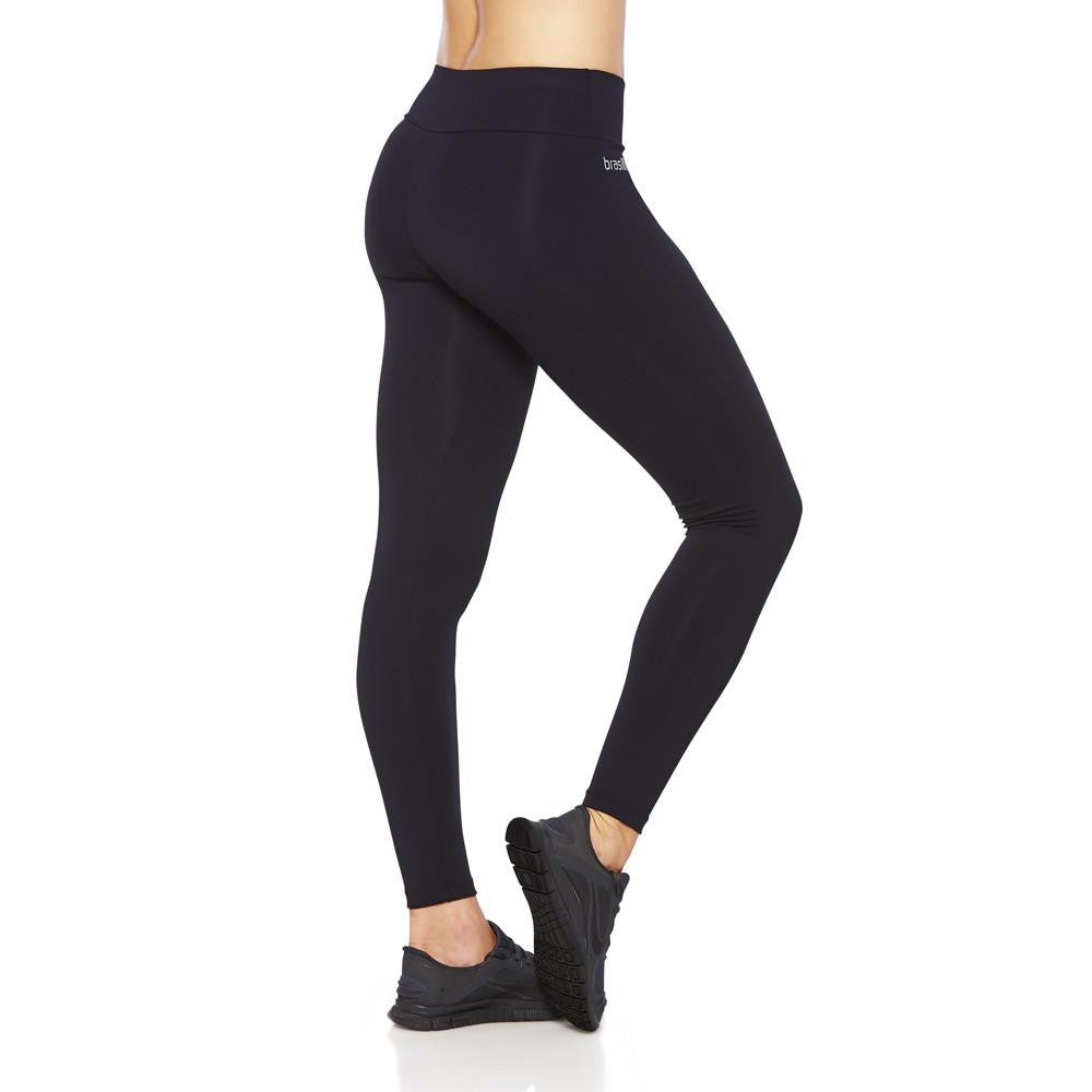 Side view product image for Brasilfit Emana full length activewear leggings. Brasilfit Emana fabric helps reduce celluite. Emana leggings are part of our essentials and basics activewear collection that is focused on high compression, performance activewear.