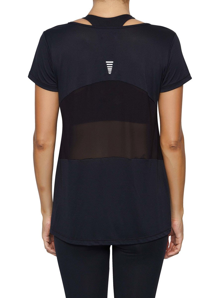 Front view product image with model for Brasilfit activewear Mesh T-shirt  in black.  The Mesh T-shirt is part of our basics activewear collection that is focused on performance, high compression activewear.
