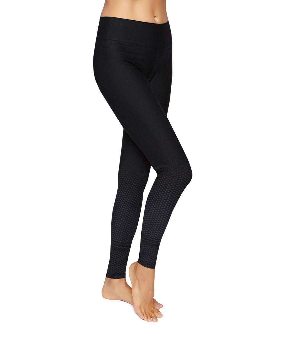 Side view product image for Brasilfit Quebec Full Length activewear leggings.  Quebec leggings are part of our textured activewear legging collection that is focused on performance, high compression activewear.
