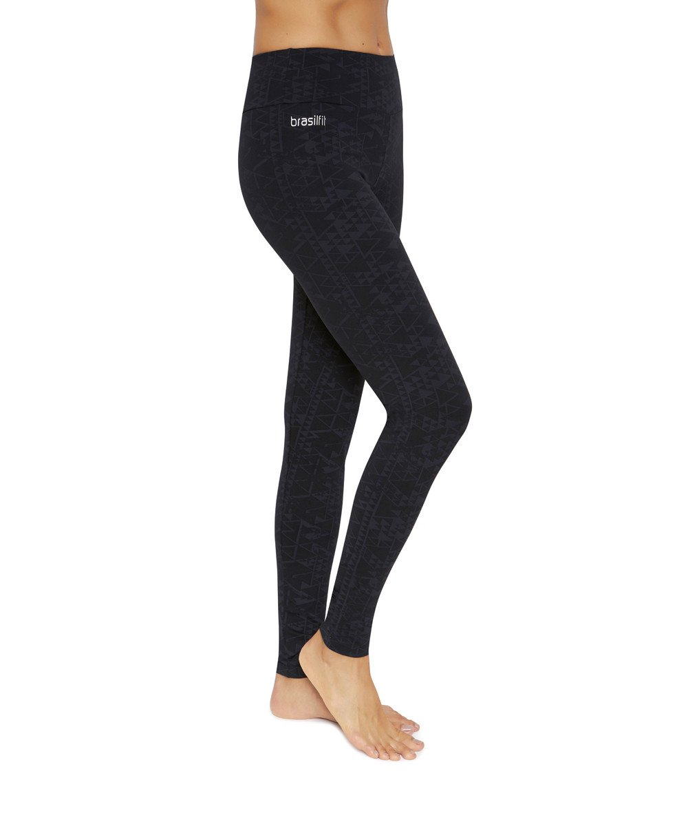 Side view product image for Brasilfit Faith Full Length activewear leggings.  Saturn leggings are part of our textured activewear legging collection that is focused on performance, high compression activewear.