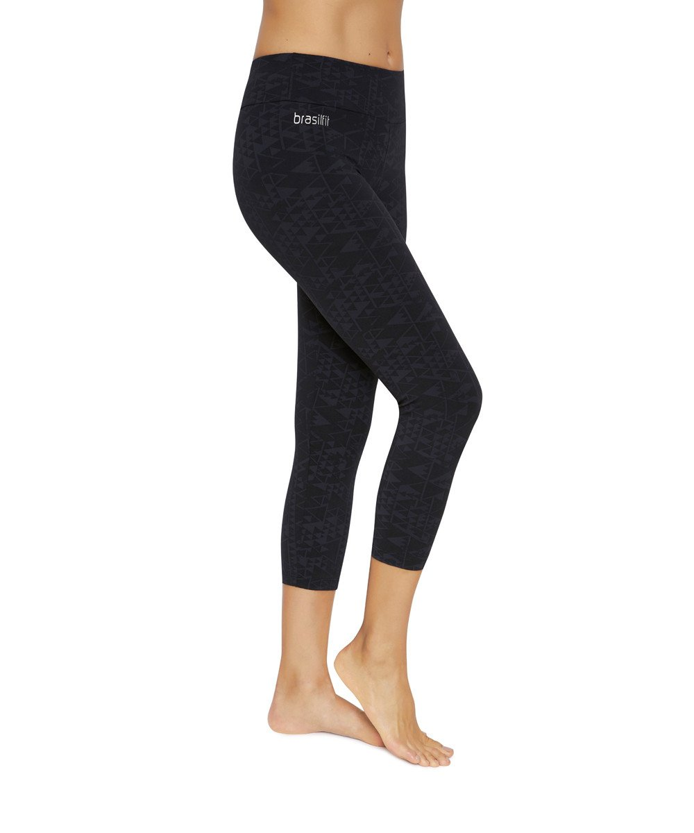 Side view product image for Brasilfit Saturn Calf Length activewear leggings.  Saturn leggings are part of our textured activewear legging collection that is focused on performance, high compression activewear.