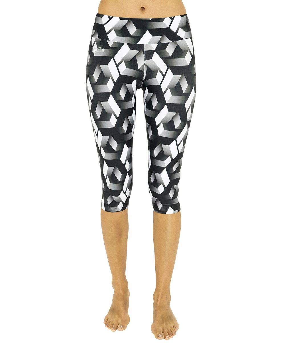 Side view product image for Brasilfit Labyrinth under knee activewear leggings.  Labyrinth leggings are part of our premium printed activewear collection that is focused on performance, high compression activewear with colourful prints.