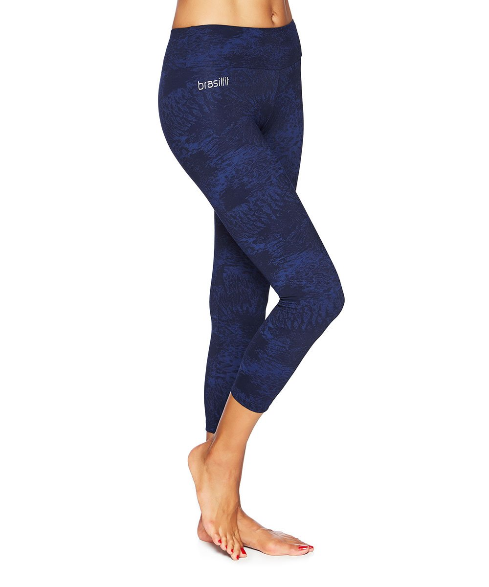 Side view product image for Brasilfit Midnight Forest Calf Length activewear leggings.  Midnight Forest leggings are part of our textured activewear legging collection that is focused on performance, high compression activewear.