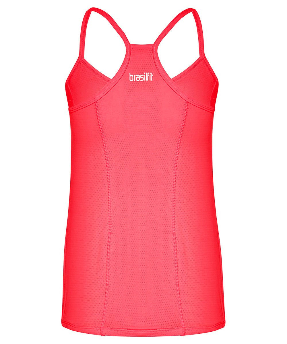 Front view mannequin product image for Brasilfit activewear Juliana singlet in coral.  The Juliana singlet is part of our basics activewear collection that is focused on performance, high compression activewear.