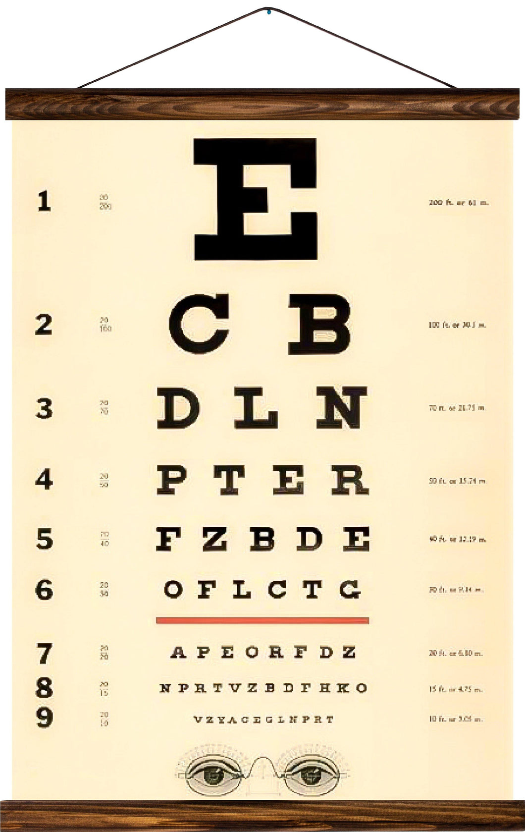 Eye chart, reprint on linen