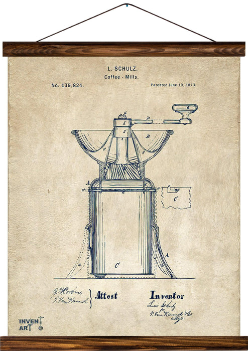 Coffee mill patent, reprint on linen - Josef und Josefine