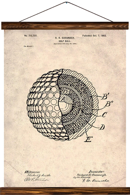 Golfball patent, reprint on linen - Josef und Josefine