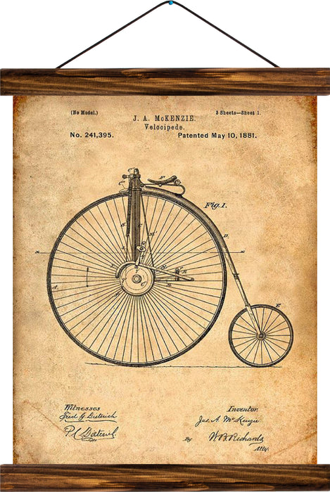 Velocipede patent, reprint on linen - Josef und Josefine