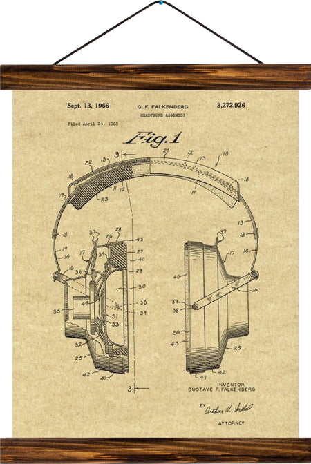 Headphones patent, reprint on linen - Josef und Josefine