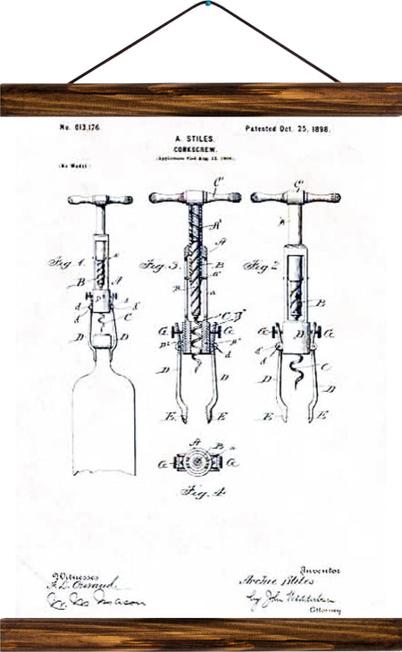 Corkscrew patent, reprint on linen - Josef und Josefine