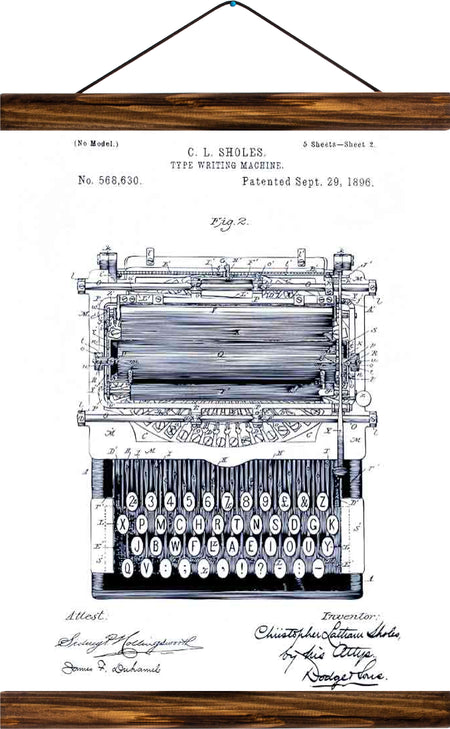 Type writing machine patent , reprint on linen - Josef und Josefine