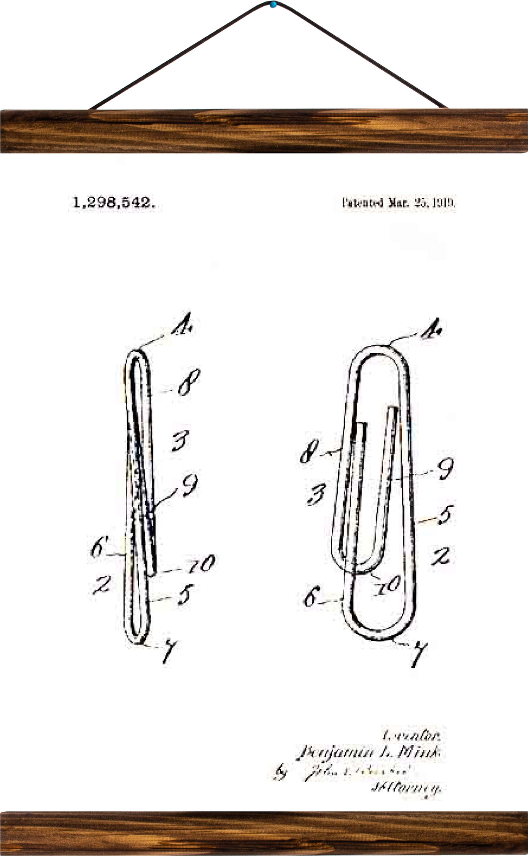 Paper clip patent, reprint on linen