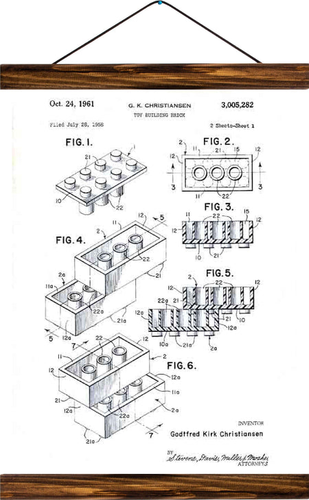 Lego patent, reprint on linen - Josef und Josefine