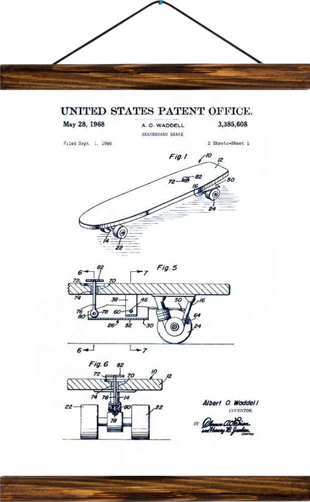 Skateboard patent , reprint on linen - Josef und Josefine