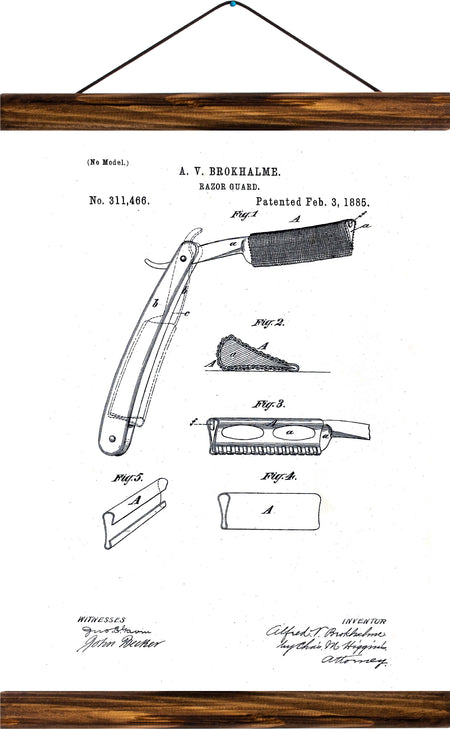 Razor guard patent, reprint on linen - Josef und Josefine