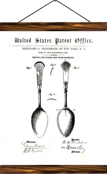 Spoon handles patent, reprint on linen - Josef und Josefine