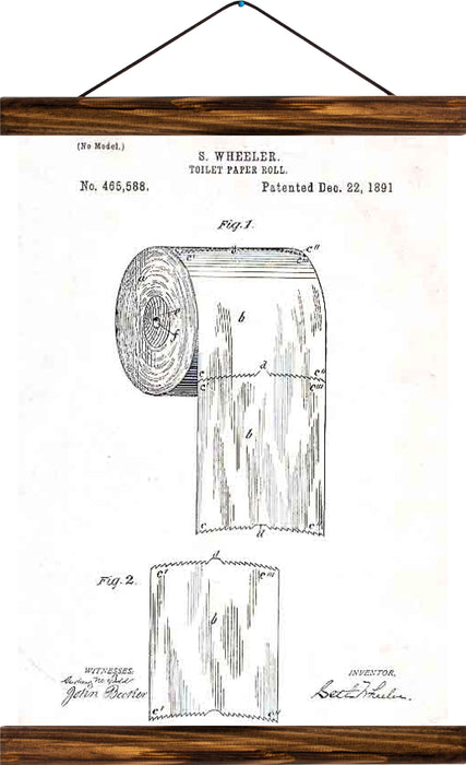 Toilet paper patent, reprint on linen - Josef und Josefine