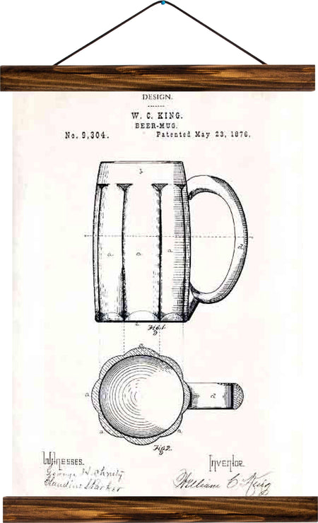 Beer mug patent, reprint on linen - Josef und Josefine