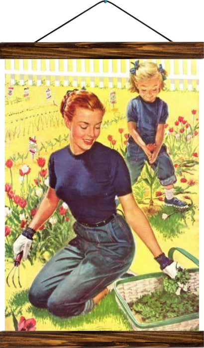 Gardening, reprint on linen - Josef und Josefine