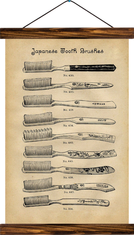 Tooth brushes, reprint on linen - Josef und Josefine