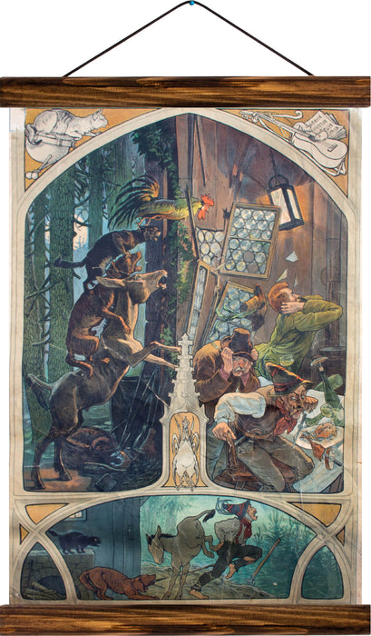 Town Musicians of Bremen, reprint on linen
