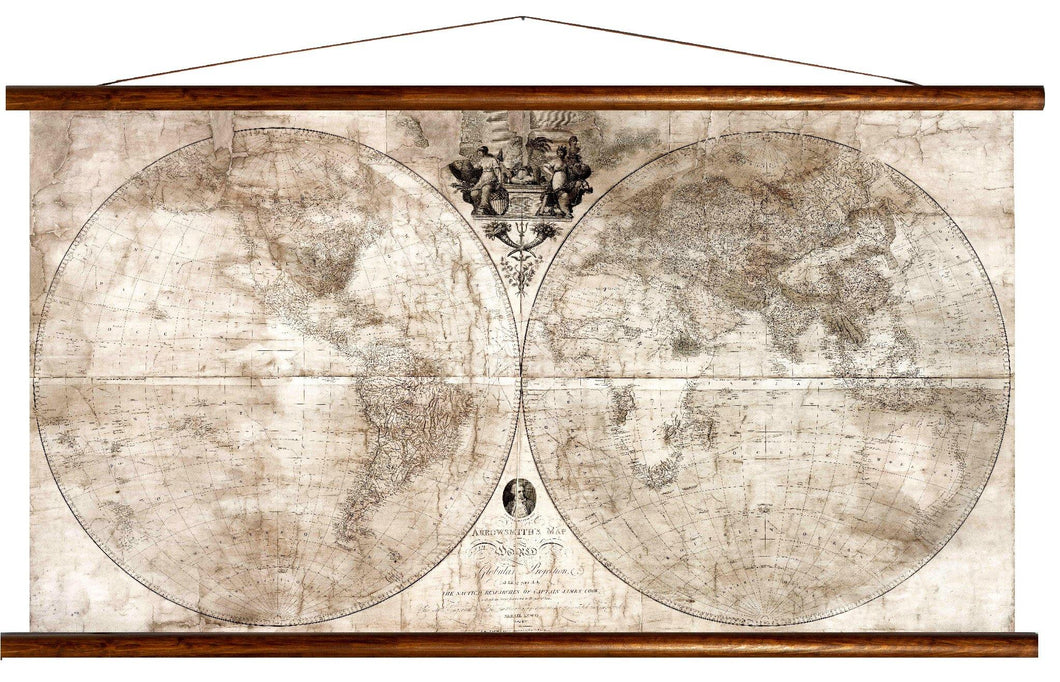 Arrowsmith's map of the world, 1809, reprint on linen
